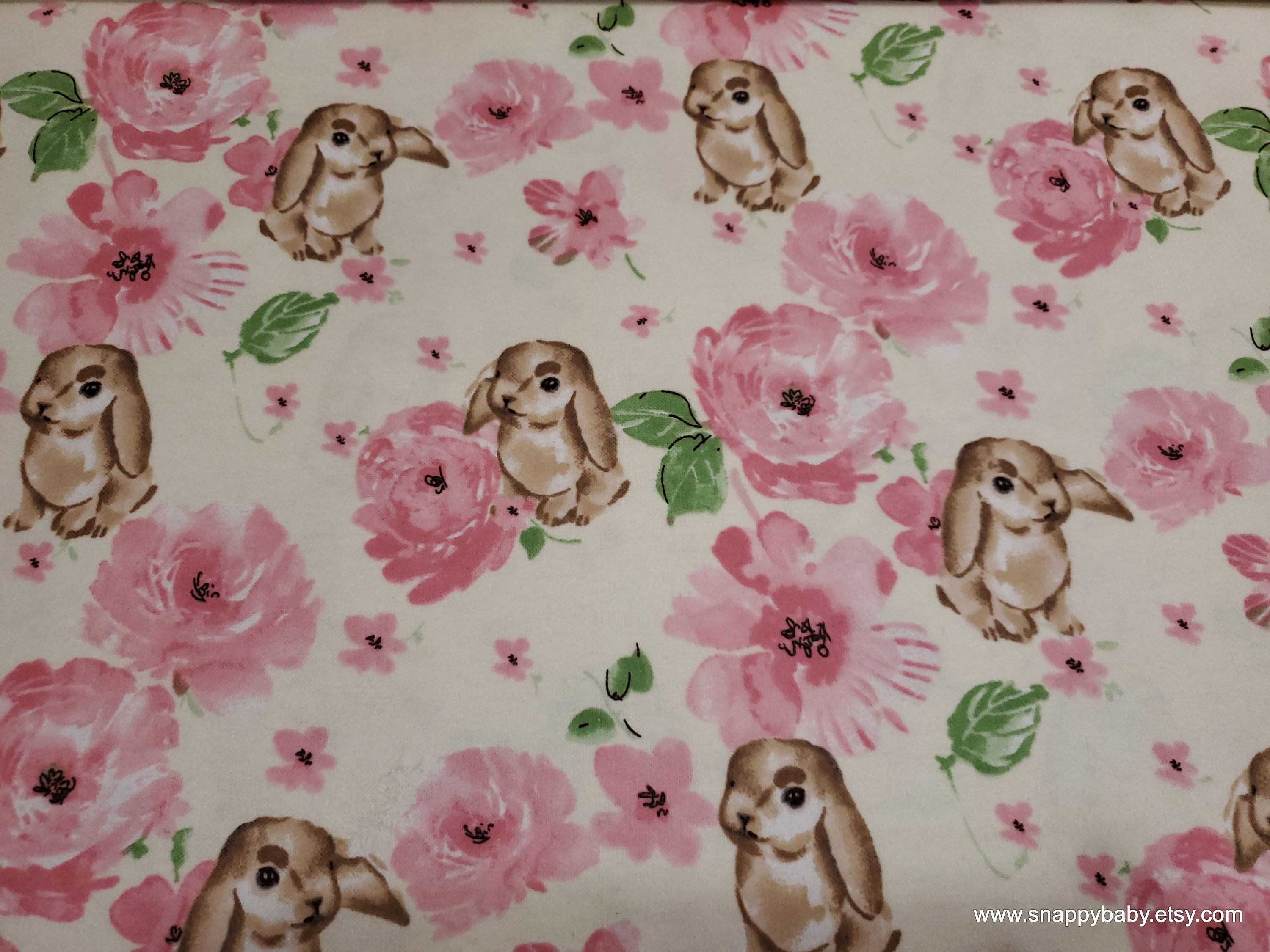 Flannel Fabric Bunny And Rose By The Yard 100 Cotton Flannel Fabric Flannel Things To Sell
