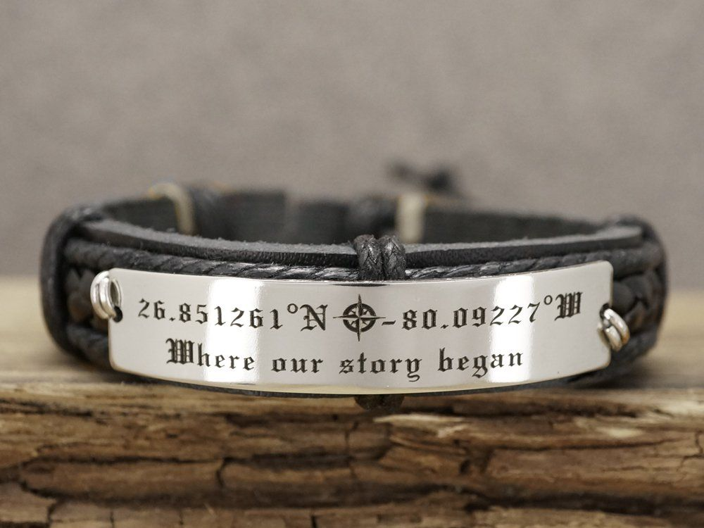 Custom GPS Coordinates Memorial Location Quote Engraved Personalized Mens Leather Bracelet Stainless Steel Plate