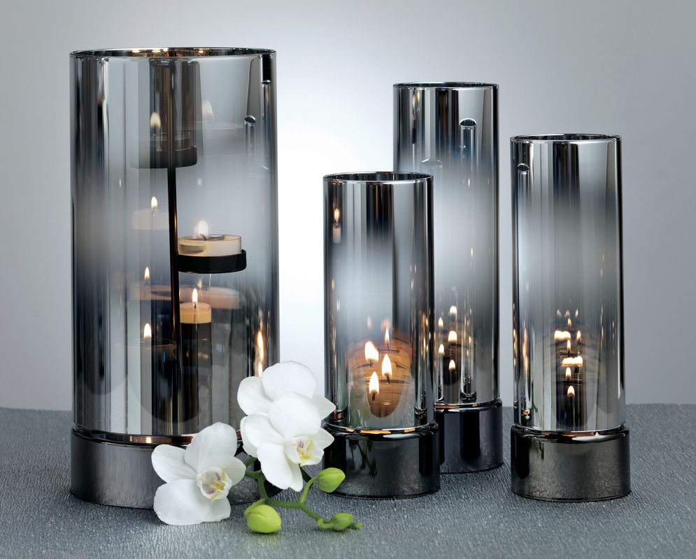 Reflective silver hurricane and tealight cylinders for Candele on line