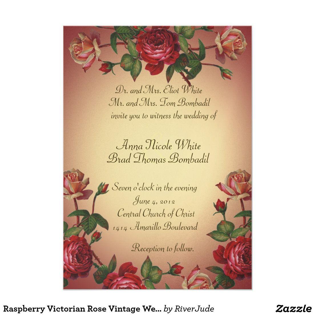 Raspberry Victorian Rose Vintage Wedding Invite | VICTORIAN WEDDING ...