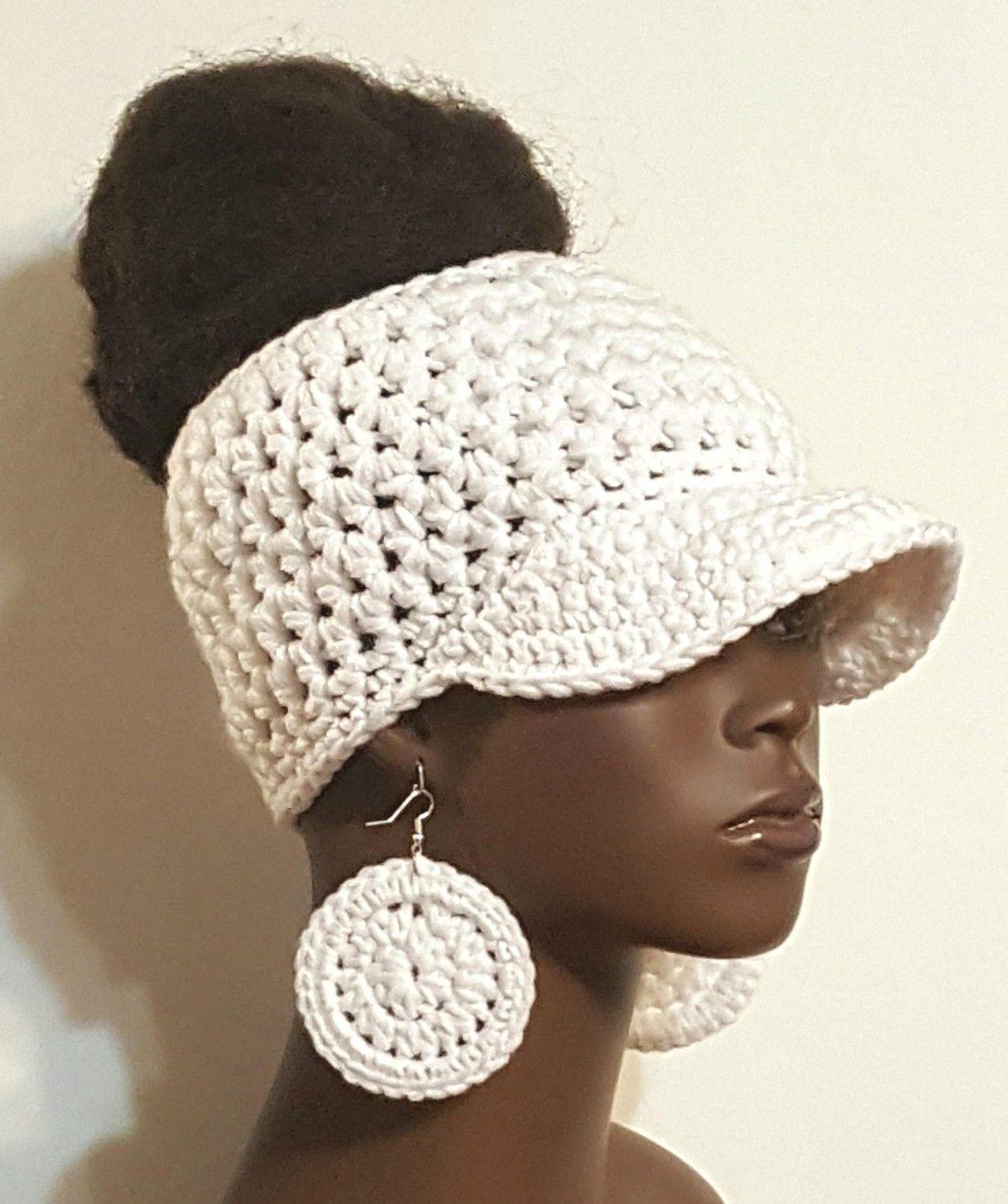 White Messy Bun Crochet Baseball Cap With Earrings By