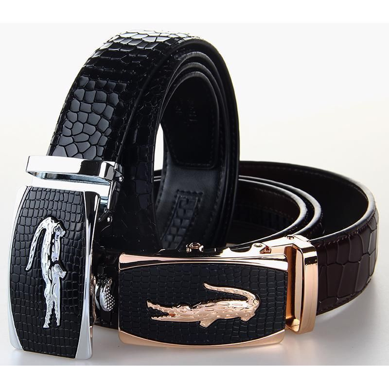 ba47576ed62 Crocodile Buckle Black Belt Genuine Leather Men Casual Luxury Brand Cowskin  Belt  Unbranded  FashionBelt