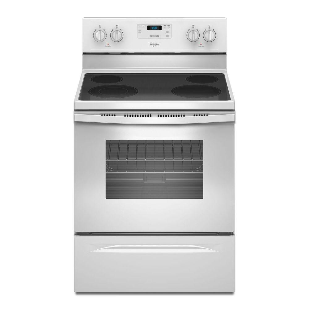 Whirlpool 4 8 Cu Ft Electric Range In White Wfe320m0ew The Home Depot Freestanding Electric Ranges Whirlpool Stove Electric Range