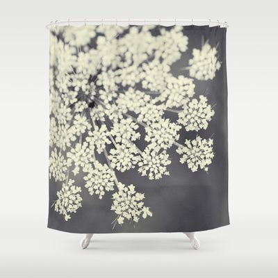 Black And White Queen Annes Lace Shower Curtain By Erin Johnson
