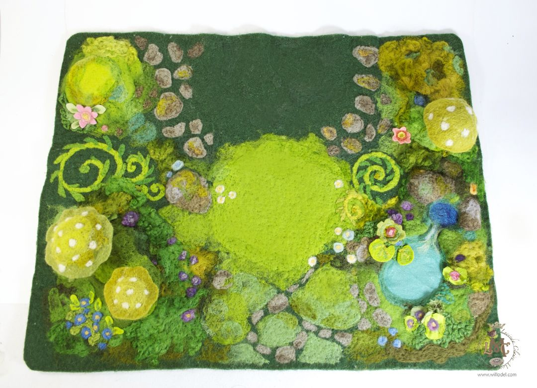 Spielmatten Für Kinder Felted Play Mat Wool Roving Silk Yarns With Cotton Silk