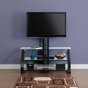 Spar Glass And Metal Tv Stand For Tvs Up To 65 Walmart Com