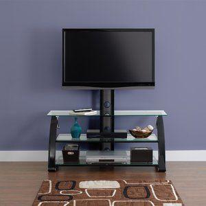 Spar Glass And Metal Tv Stand For Tvs Up To 65 Walmart Com