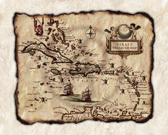 old pirate treasure map art of caribbeanantique map of