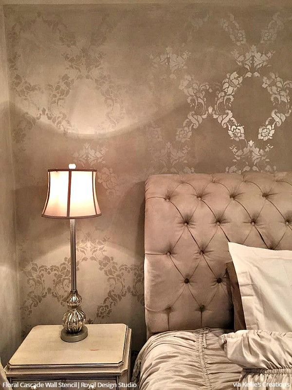 Bon Large Flower Stencils Classic Traditional Glam Bedroom Wall Stencils    Royal Design Studio