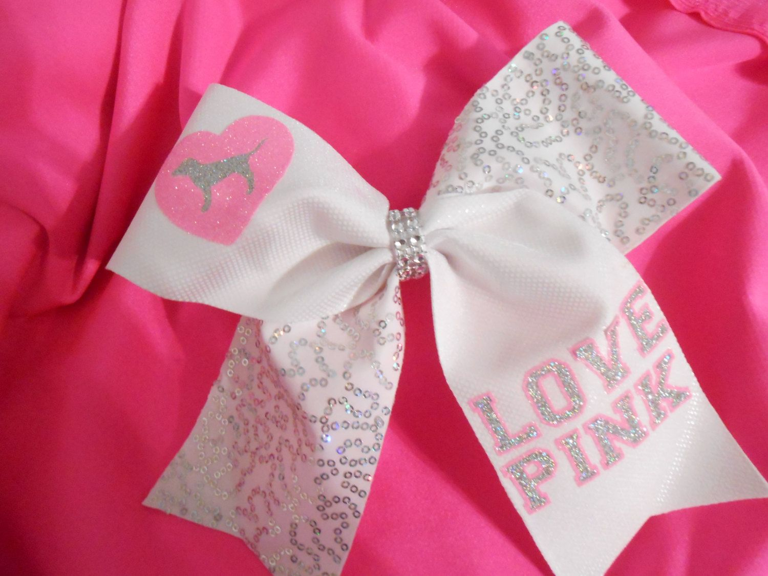 "Love Pink Cheer Bow Inspired by Victoria Secret ""Love Pink"" by SportingPrideBows on Etsy https://www.etsy.com/listing/216454550/love-pink-cheer-bow-inspired-by-victoria"