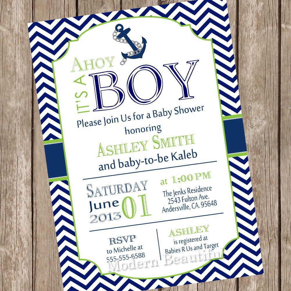 Chevron Ahoy it\'s a boy baby shower invitation, lime green, navy ...