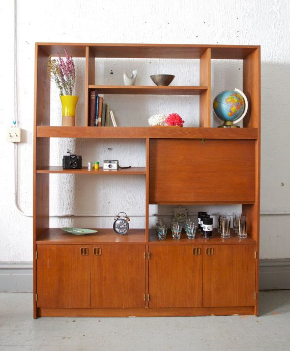 Mid century teak book case wall unit entertainment for Modern teak kitchen cabinets