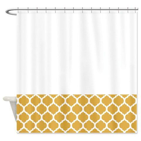Quatrefoil Shower Curtain Honey Gold Mustard Yellow White Or