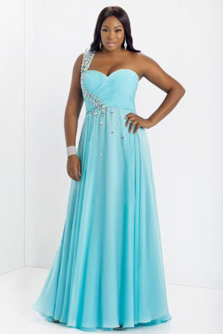 2014 New Arrival Prom Dress Plus Size A Line One Shoulder Floor ...