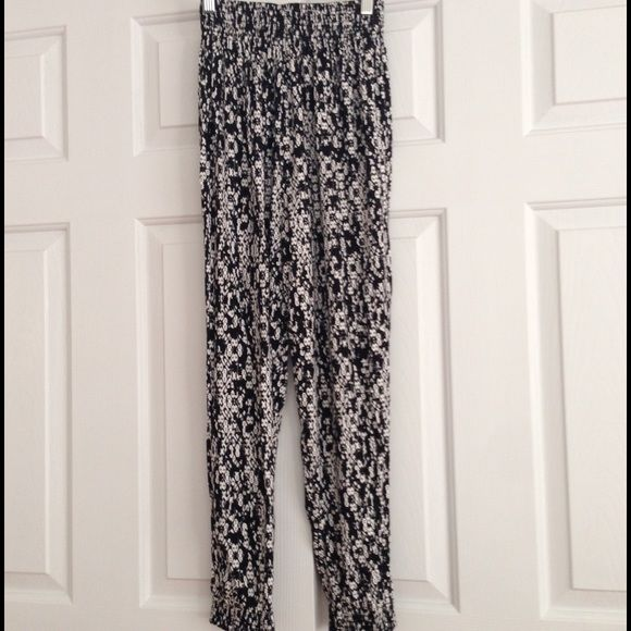 Black And White Pattern Jogger Pants Nwt With Images Pants