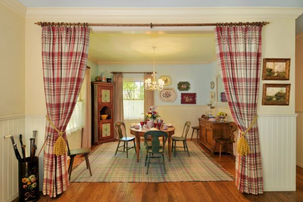 Traditional Red Curtain School Room Divider Idea
