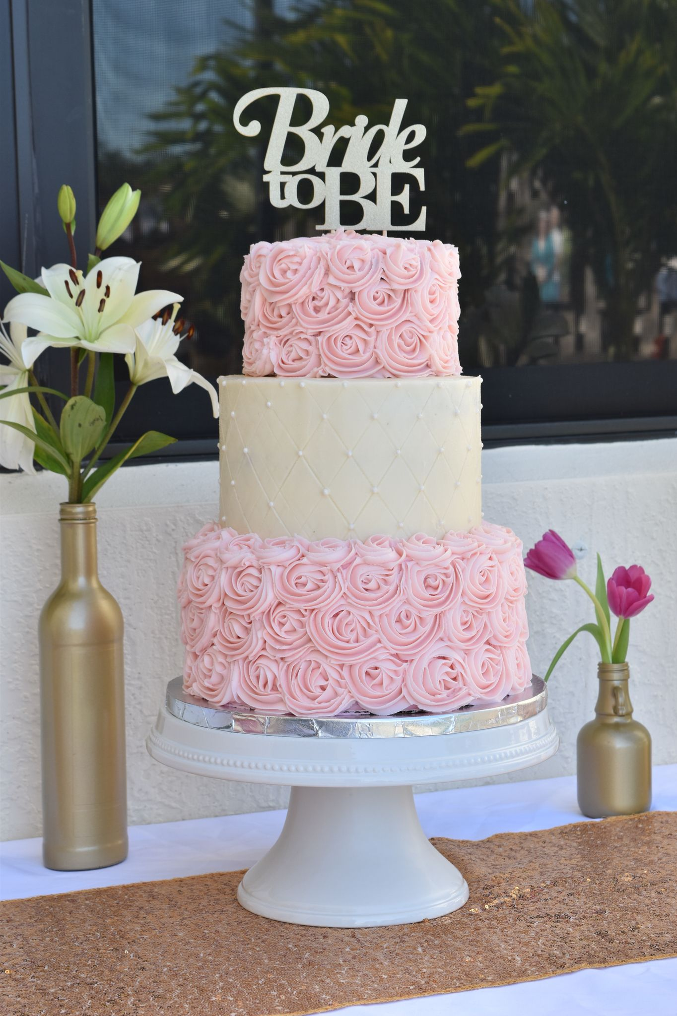 my first three tier cake for a bridal shower chocolate cake with buttercream rosette