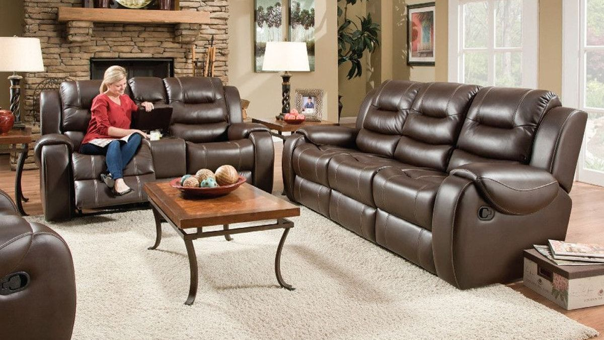 Titan Living Room Chocolate Reclining Sofa Loveseat