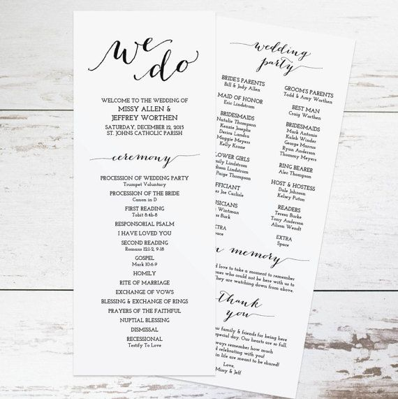 Printable Wedding Program Template Rustic Wedding Programs Order