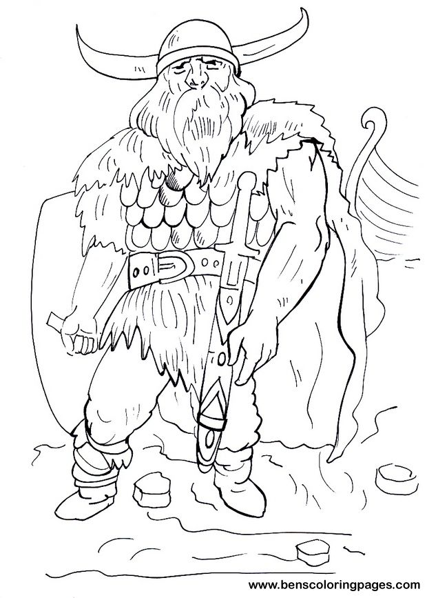 Viking Warrior Coloring Pages For Kids Coloring Pages Coloring Books Colouring Pages