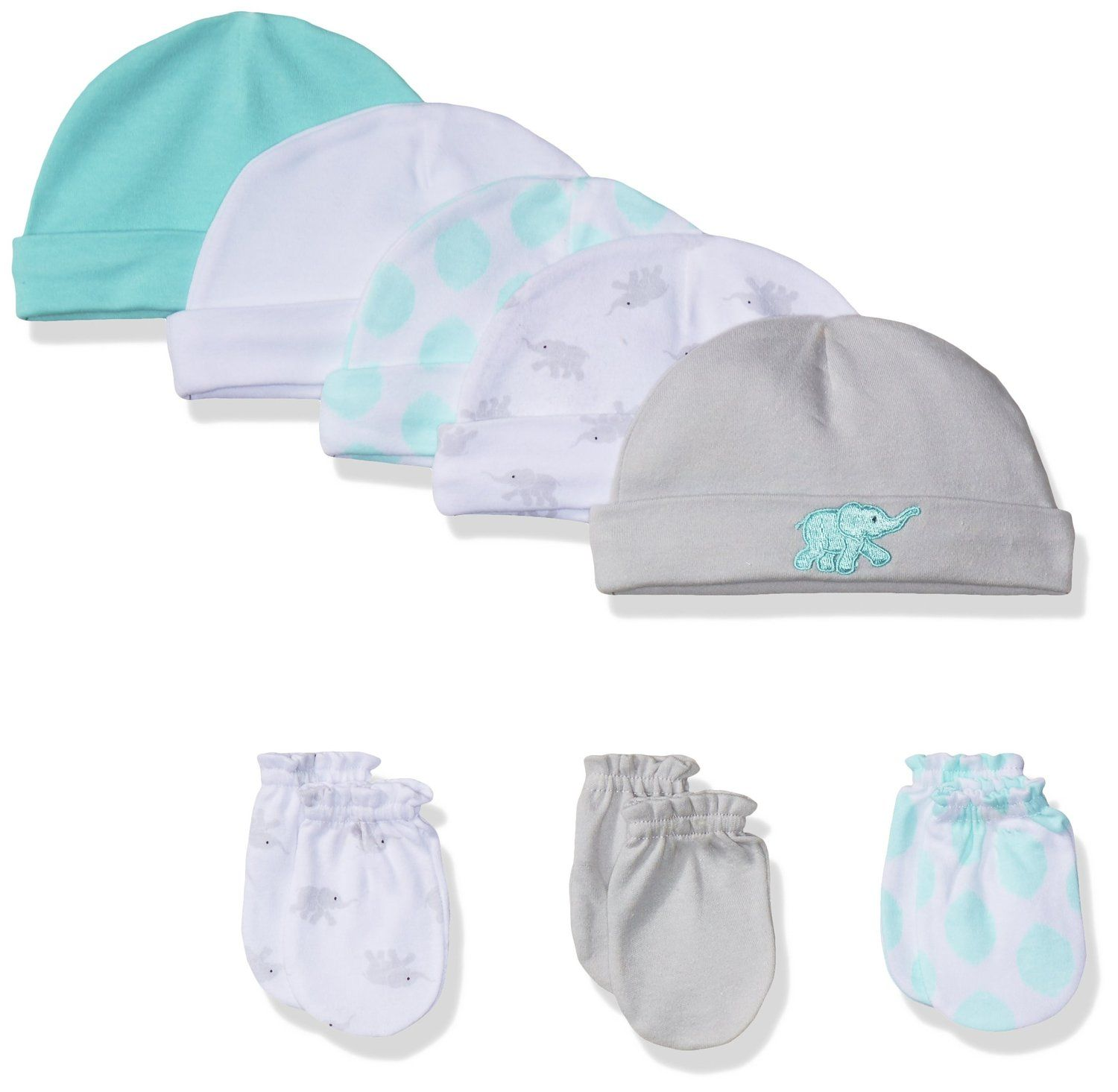 ae489d62a4e Amazon.com  Luvable Friends Baby Boys  5 Pack Cap and 3 Pack Scratch Mitten  Set…