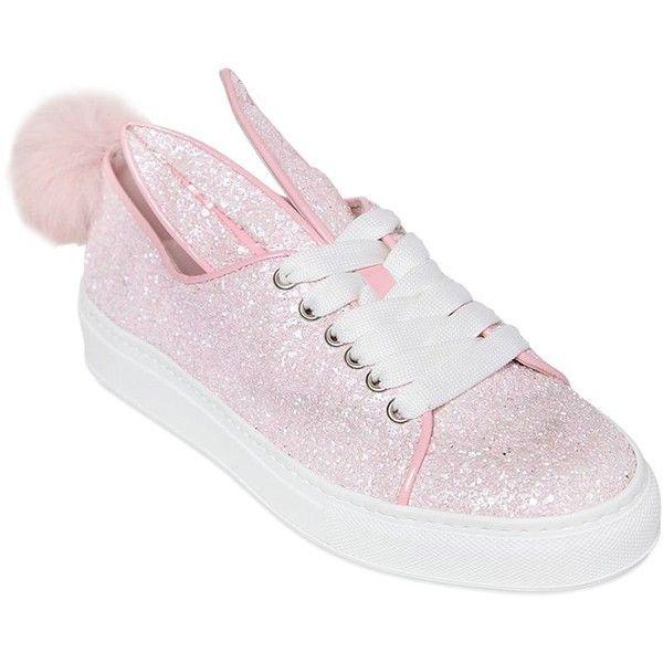Minna Parikka Women 20mm Bunny Tail Glitter Sneakers ($390) ❤ liked on  Polyvore featuring