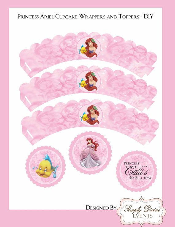 Disney Princess Ariel Cupcake Wrappes and Toppers by adivineevent, $6.00