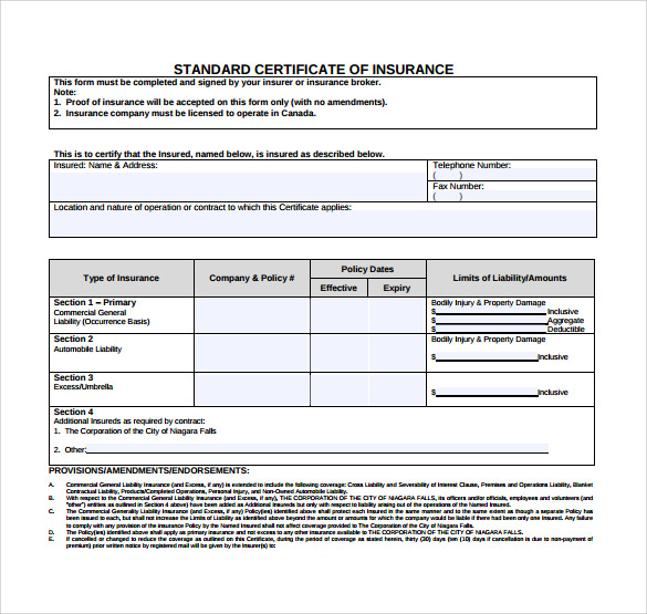Certificate Of Insurance Template 3 Professional Templates