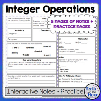 Integer Operations Notes And Practice Pdf And Google Slides Version Integer Operations Interactive Notes Integers Operations with integers worksheet pdf