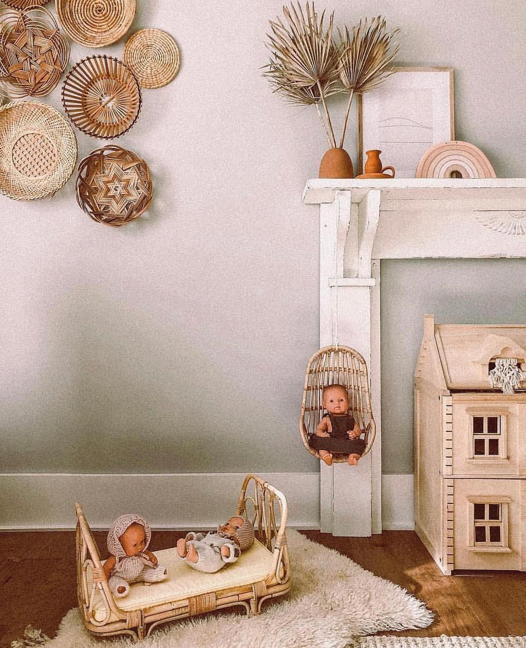 Rattan Baby Doll Swing And Bed Rattan Doll Furniture Doll Bed
