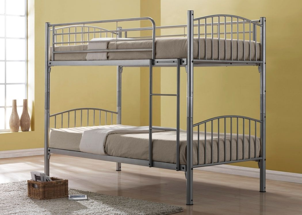 Chic Metal Bunk Bed Design Idea For Age S With Brown Beddings And Thin Ladder