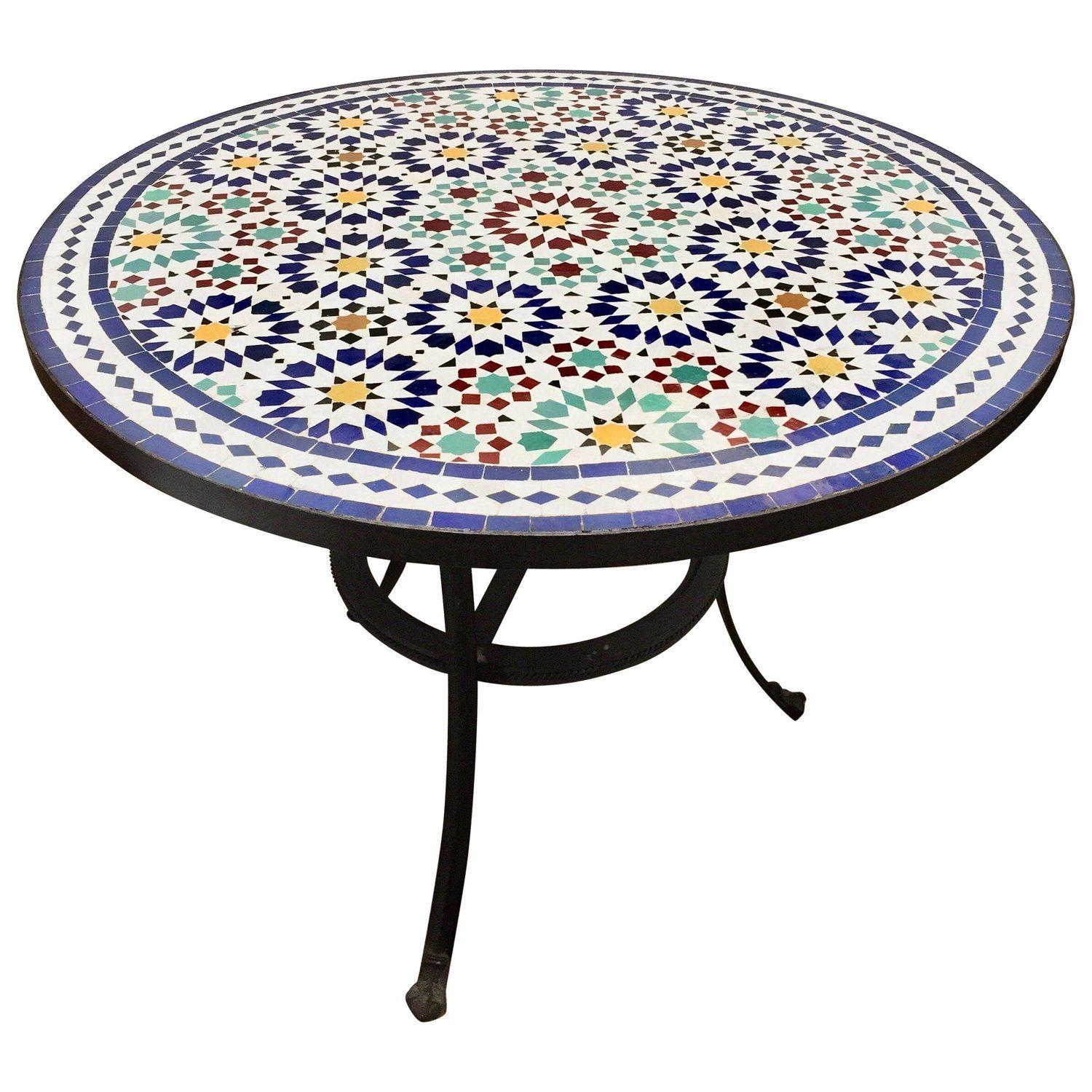 Moroccan Outdoor Mosaic Tile Table From Fez In Traditional Moorish Design Mosaic Tile Table Moorish Design Outdoor Mosaic Tiles