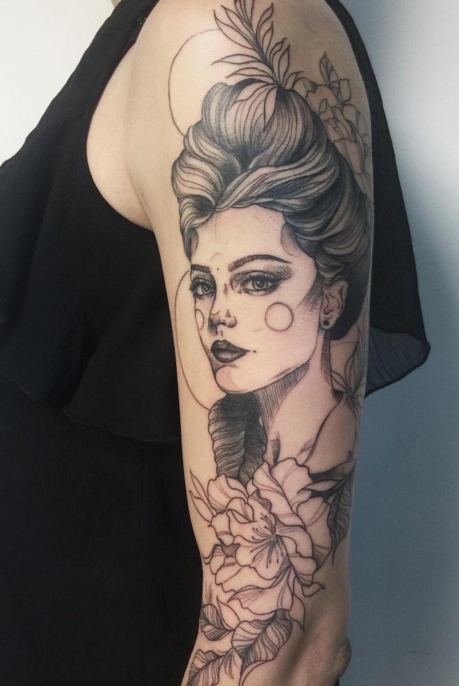 Cool tattoos for a girl girl portrait tattoo  Τατουάζ  pinterest  portrait tattoos
