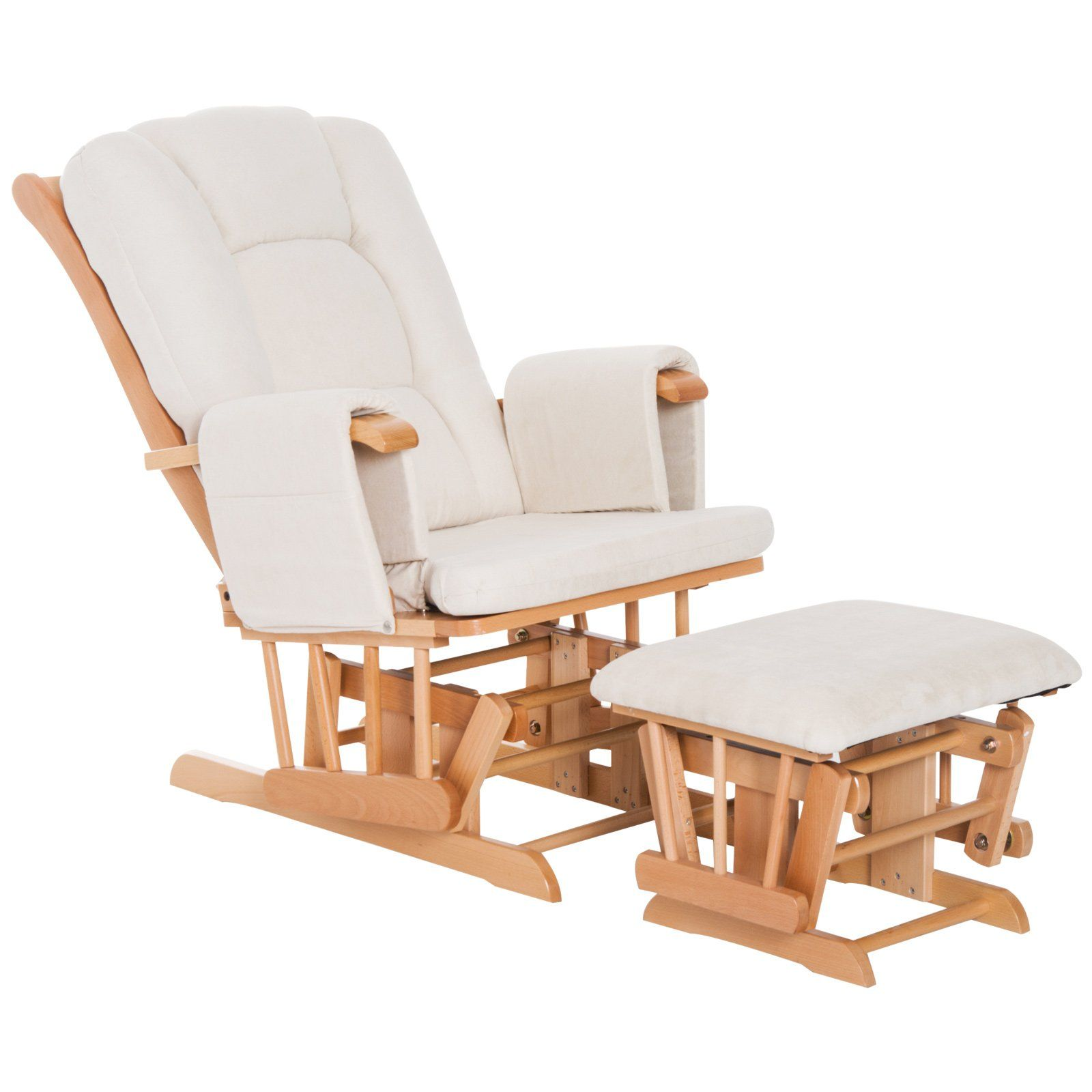 white recliner chair with footstool
