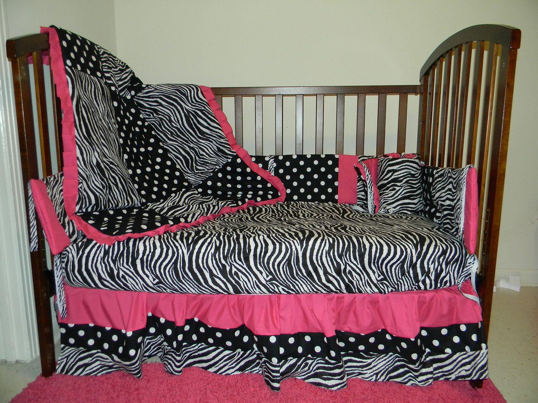 Trendy Zebra Amp Polka Dots Hot Pink Baby Crib Bedding Set