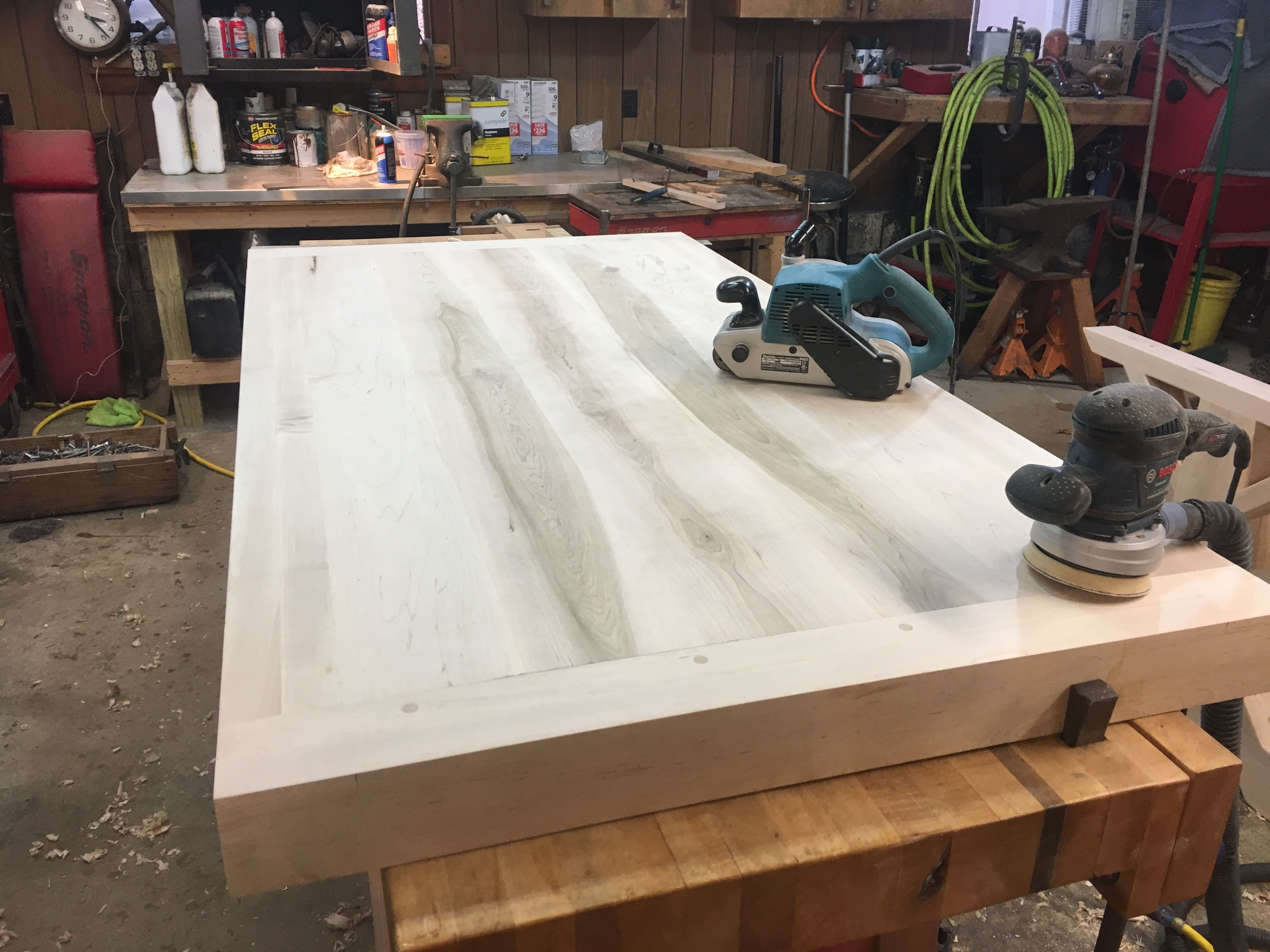 Maple Farmhouse Table Top With 4 Inch Apron And Breadboards
