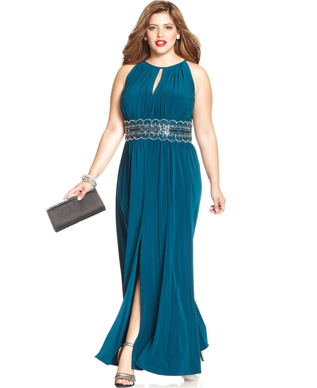 R&M Richards Plus Size Sleeveless Beaded Gown | Gowns, Polyester ...