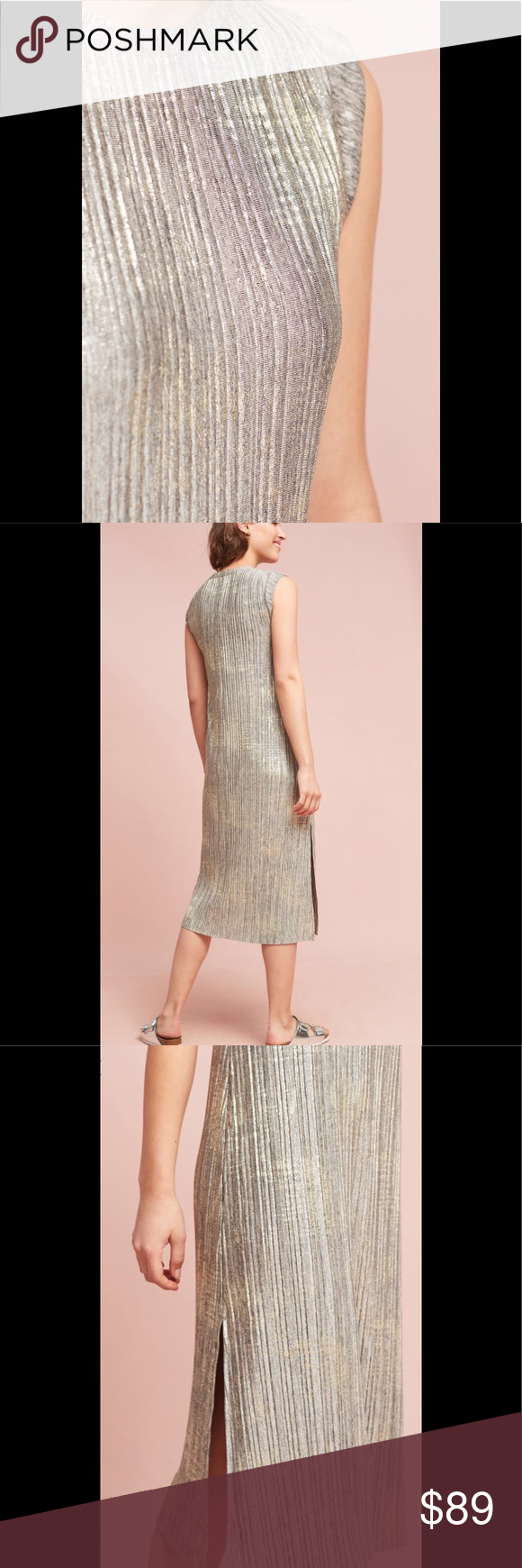 7503722a6985 Anthropology Corrina Metallic Dress Anthropology Corrina Metallic Stunning  Dress, size XL pullover styling, color gray. Anthropologie Dresses
