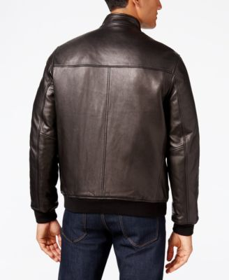 facc193c4 Cole Haan Men's Leather Bomber Jacket - Black L | Products | Mens ...