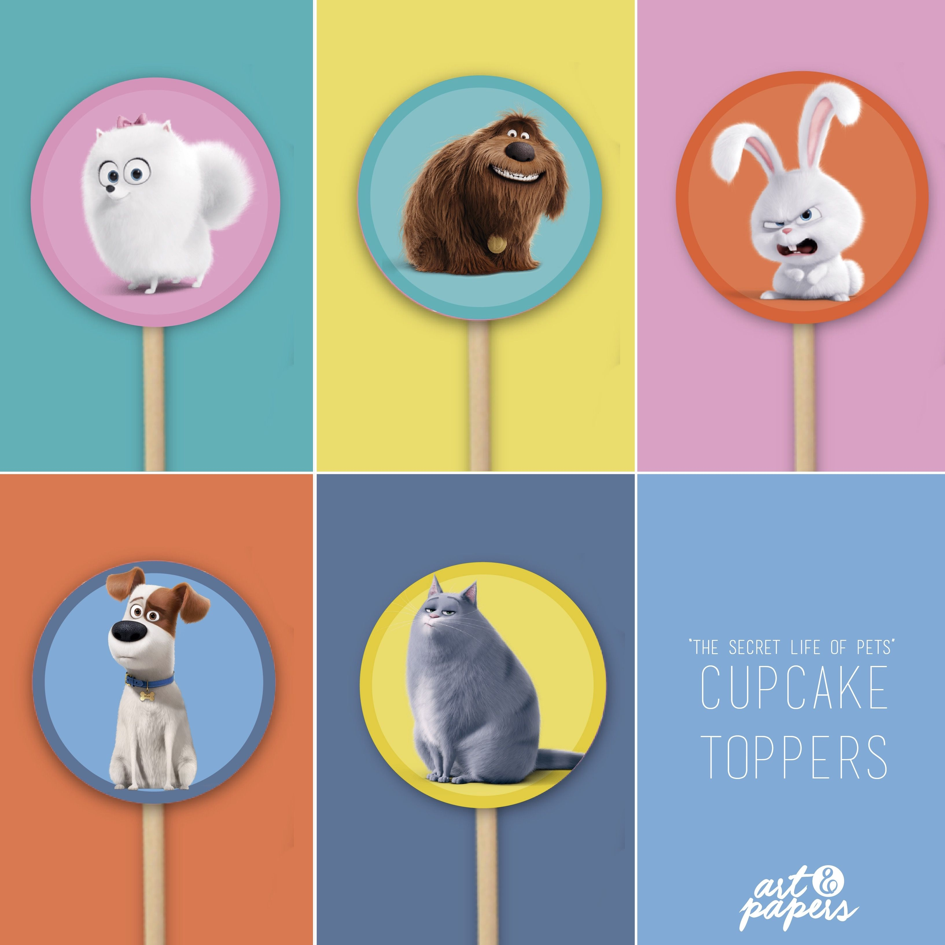 Printable Cupcake Toppers Birthday Party The Secret Life Of Pets Party Decor Party Ideas Animal Birthday Movie Party Decorations Animal Party