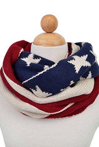 American Flag Winter Knit Infinity Loop Circle Scarf American Flag Scarf American Flag Flag Scarf