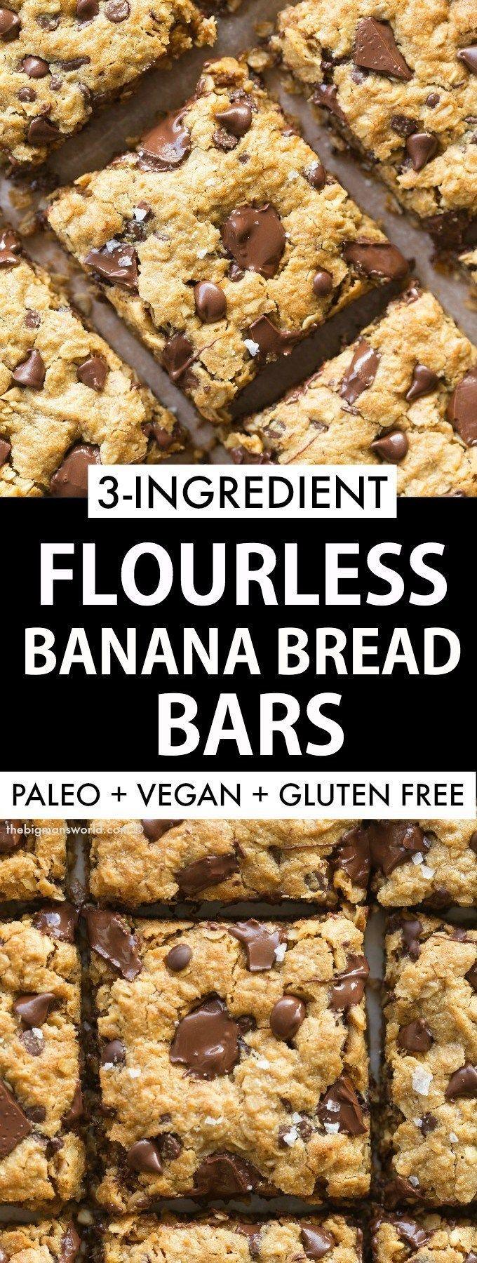 Healthy 3 Ingredient Flourless Banana Bread Bars | Recipe ...