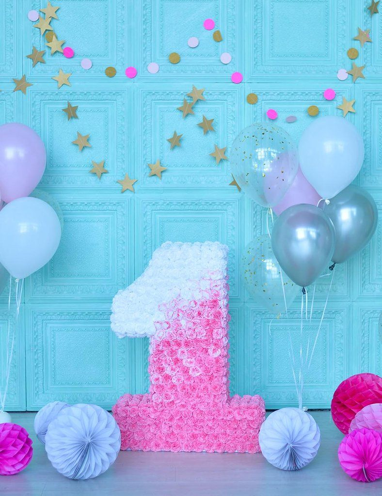 Golden Stars On Baby Blue Wall And Balloons For 1th Birthday