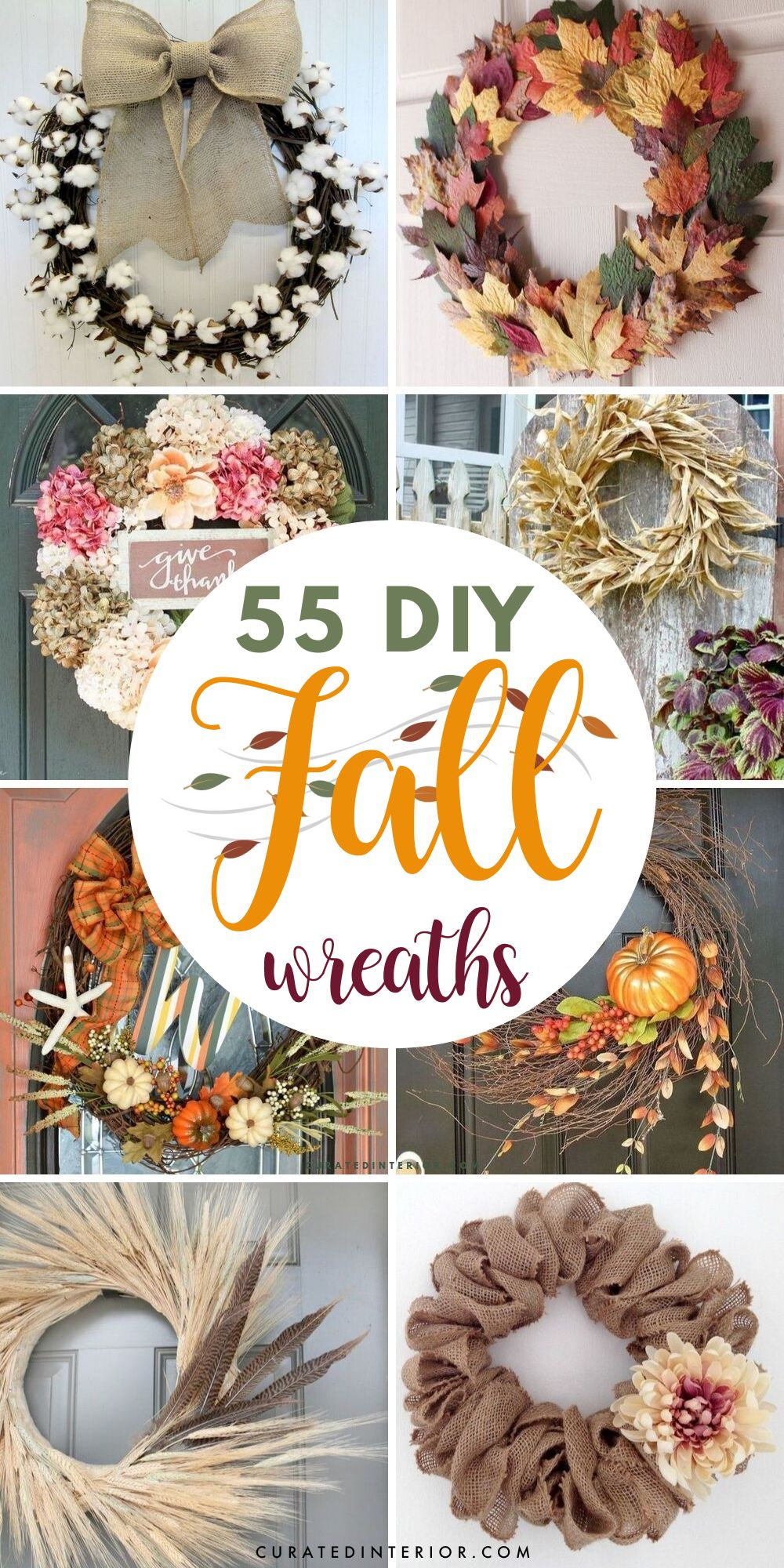 55 DIY Fall Wreaths that are Easy and Inexpensive to Make ...