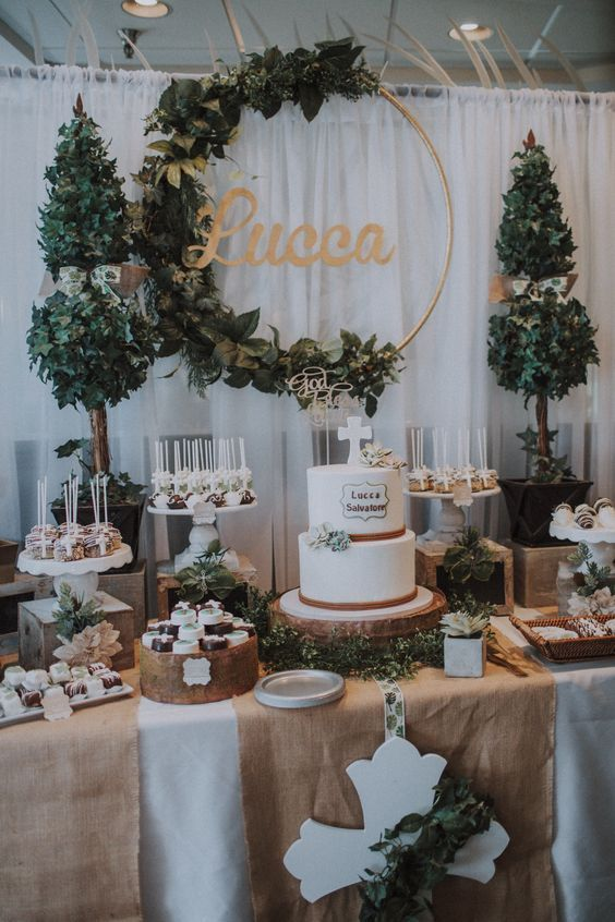 27 Rustic Wedding Decorations You Must Have A Look Wedding Cake Table With Burlap Tab Baptism Party Decorations First Communion Decorations Wedding Cake Table