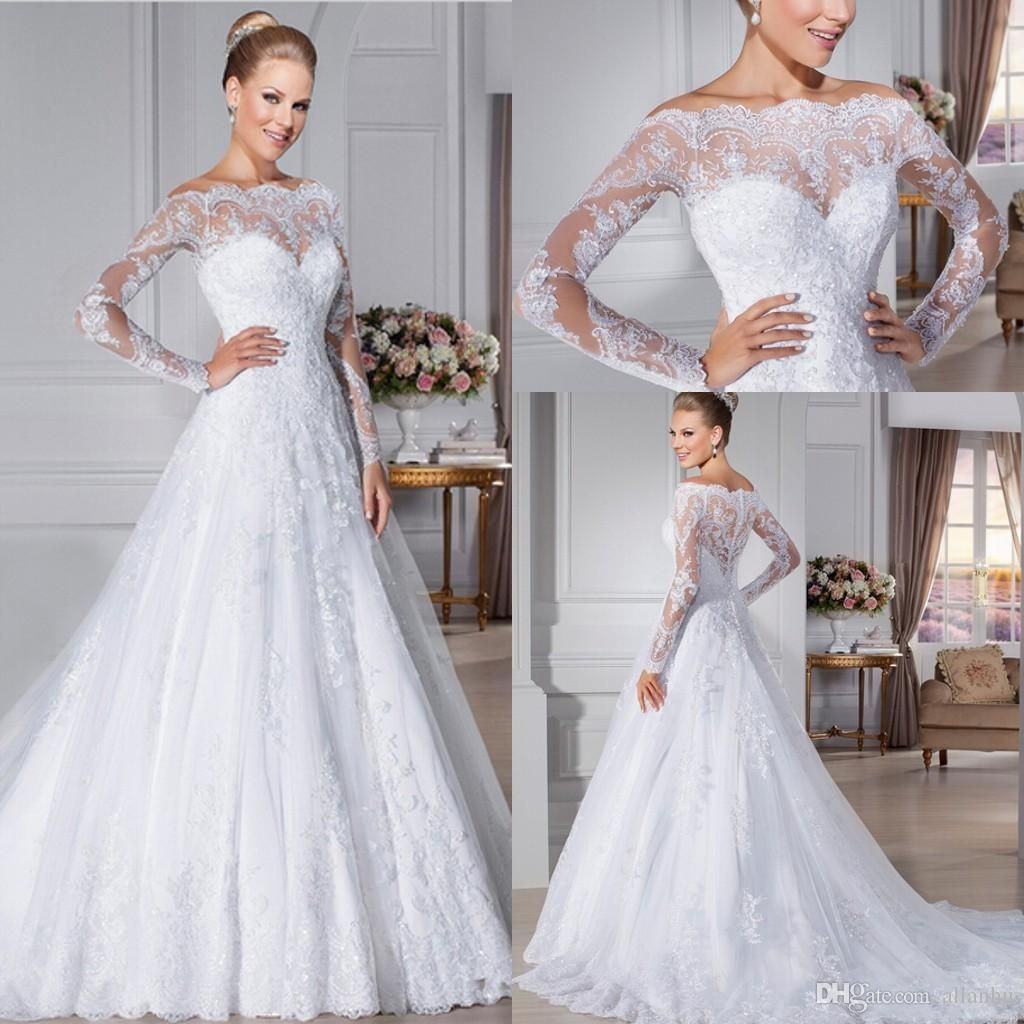 17 Best images about 2016 Lace Wedding Dresses Sheer Long Sleeves ...