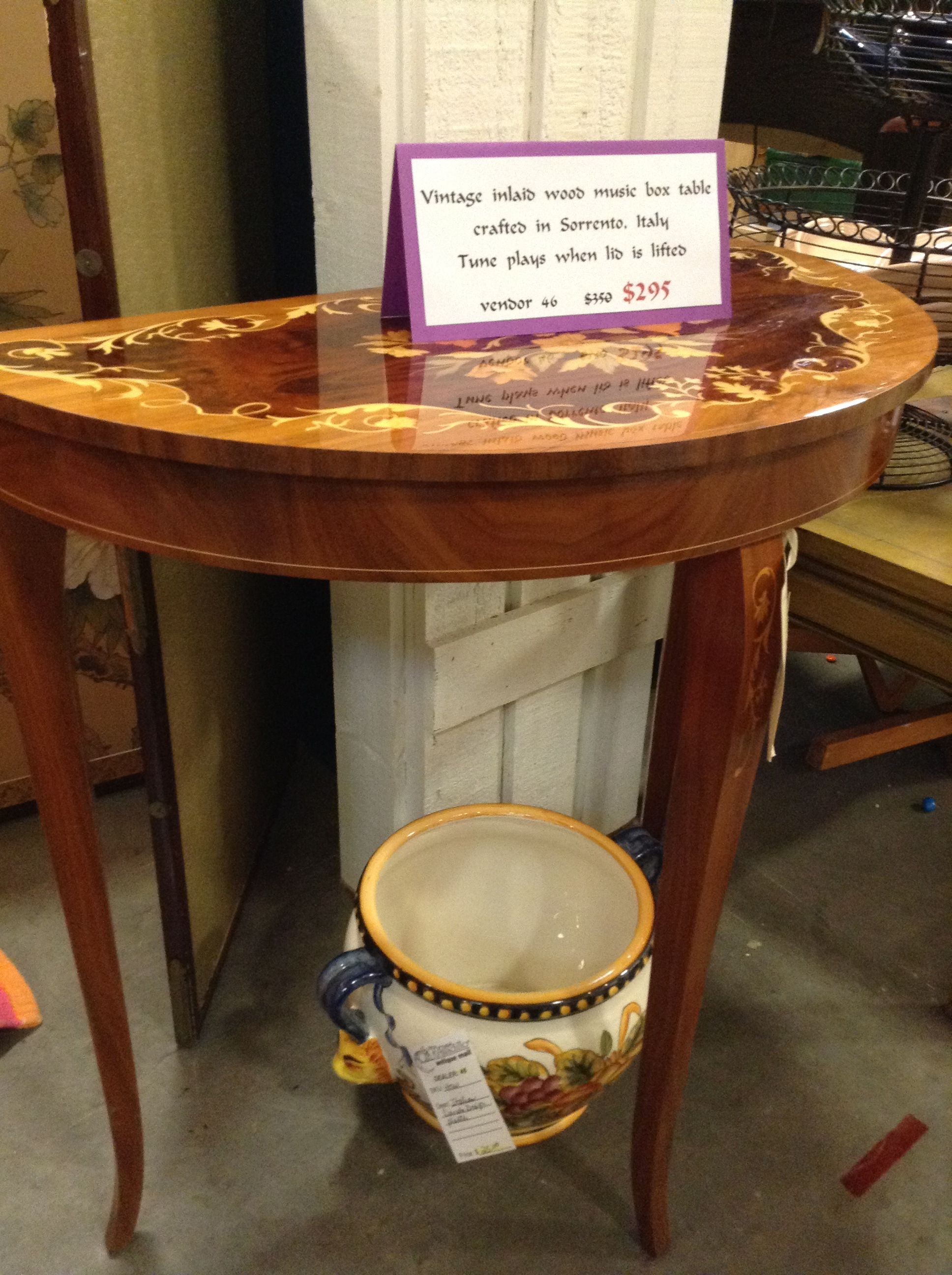 Vintage Inlaid Wood Music Box Table From Soro Italy Plays When The Lid Is Lifted 249