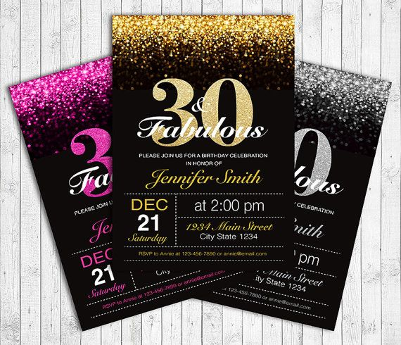 Details about Printable Custom Personalised 30th Birthday – Personalised 30th Birthday Invitations