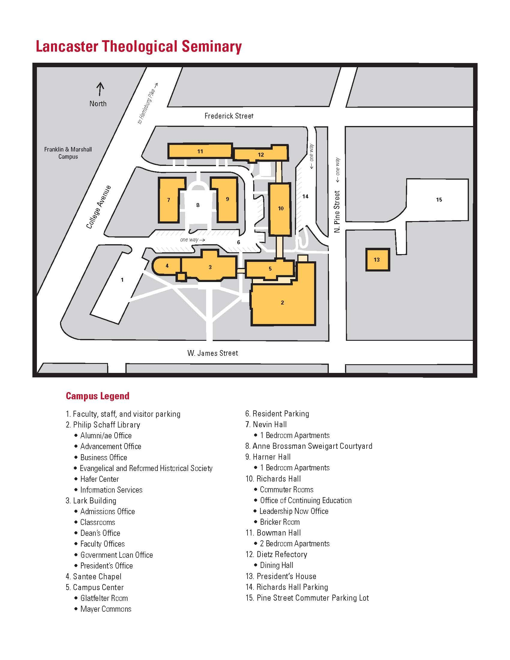 Map Of Lts Campus Lancaster Theological Seminary Campus Seminary Lancaster