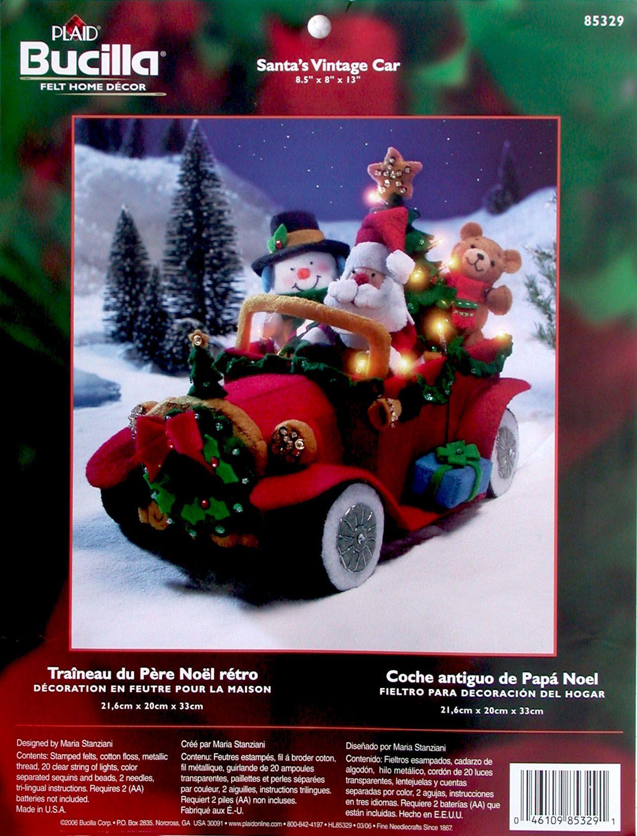 Santa s Vintage Car Bucilla Felt Christmas 3D Home Decor Kit